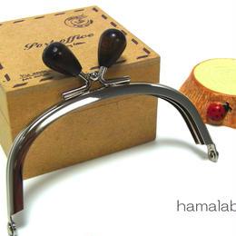 【HA-1390】10cm/くし型(茶色の木オーバル×シルバー)