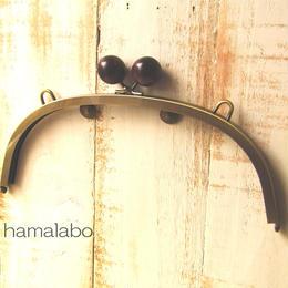 <廃盤予定>売り切り価格!【HA-390】24cmくし型/(大きな茶色の木玉×アンティークゴールド)・カン付き