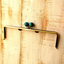 <廃盤予定>【HA-1225】25cm/角型(ちょっと大きな紺色の木玉×アンティークゴールド)