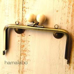 【HA-321】12cm/角型(白玉×アンティークゴールド)・カン付き