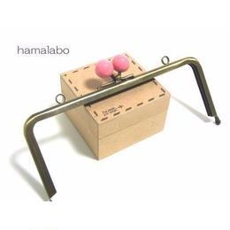 【HA-1214】18cm/角型(ピンク玉×アンティークゴールド)・カン付き