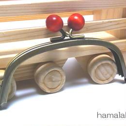 【HA-1412】12.5cm/くし型(オレンジ色の木玉×アンティークゴールド)