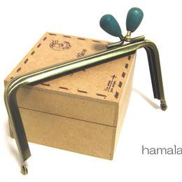 【HA-1211】<横ひねり>12cm/角型の口金(紺色の木オーバル×アンティーク)