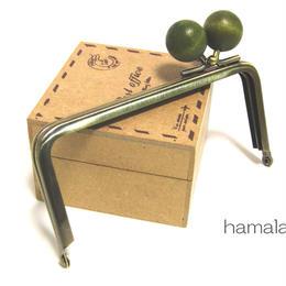 【HA-1208】<横ひねり>12cm/角型の口金(ちょっと大きな抹茶色の木玉×アンティーク)