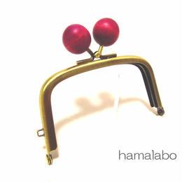 【HA-1456】9.9cm/くし型の口金(ちょっと大きい紫色の木玉×アンティークゴールド