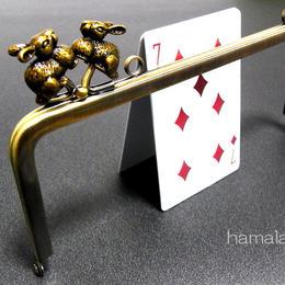 【HA-170】<横ひねり>18cm/角型の口金(アンティークウサギ×アンティークゴールド)・カン付き