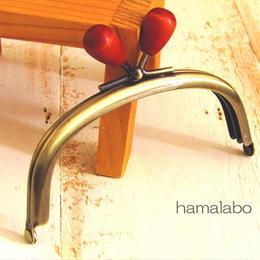 <廃盤予定>売り切り価格!【HA-1549】10cm/くし型(オレンジ色の木オーバル×アンティークゴールド)