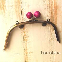 <廃盤予定>【HA-163】18cm/くし型(ちょっと大きな紫色の木玉×アンティークゴールド)・カン付き
