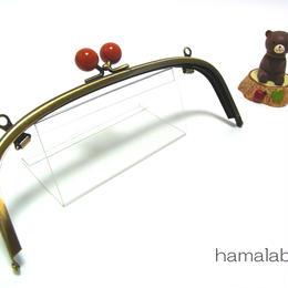【HA-1271】20.4cm/くし型(赤玉×アンティークゴールド)・兼用カン付き