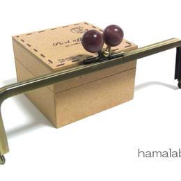 【HA-1400】16.5cm木玉/角型(エンジ色の木玉×アンティークゴールド)