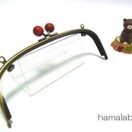 【HA-1268】20.4cm/くし型(オレンジ色の木玉×アンティークゴールド)・兼用カン付き