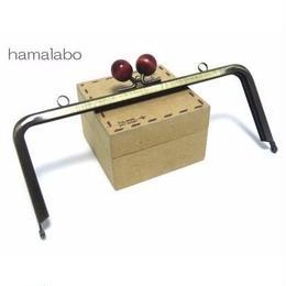 <廃盤予定>【HA-115】18cm木玉/角型(エンジ色の木玉×アンティークゴールド)・カン付き