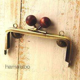 【HA-164】10cm/角型(茶色の木玉×アンティークゴールド)・カン付き