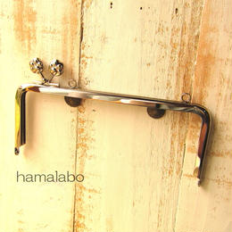 【HA-1108】<横ひねり>18cm/角型(肉球/シルバー)・カン付き