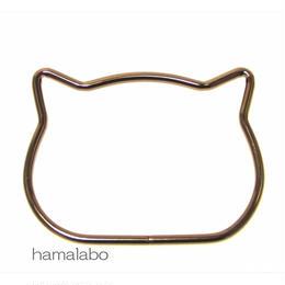 【HA-584】ネコ型リング持ち手/11.7cm(ブラック)