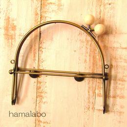 11月1日販売開始!【HA-1452】16cmベンリー口金/(白玉×アンティークゴールド)・カン付き