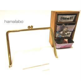 【HA-1346】17.7cm/角型の碁石口金(ゴールド)