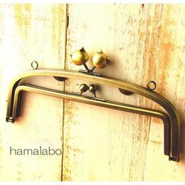 10月17日販売開始!【HA-856】親子口金 20.4cm(大きなネコ玉×アンティークゴールド)・カン付き