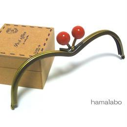 【HA-175】メガネ型(赤玉×アンティークゴールド)