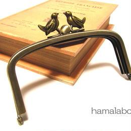【HA-152】三枚口(二口口金)12cm/(小鳥のピースケ×アンティークゴールド)