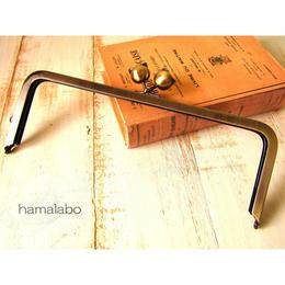 【HA-498】24cm角型口金(大きなネコ玉×アンティークゴールド)+(プラス)
