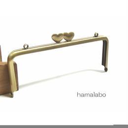 <アウトレット>【HA-854】ハート口金 15cm/角型(アンティークゴールド)カン付き