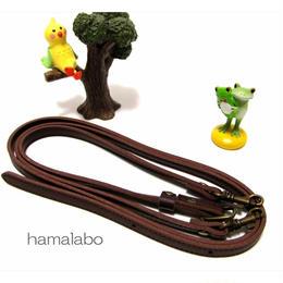 【HA-551】<長さ調節可能>がま口バッグ用の肩下げ(ショルダーベルト/茶色)-細め-アンティーク金具