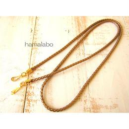 【HA-542】ショルダーひも100cm(アンティークゴールド)-合皮テープ編み-