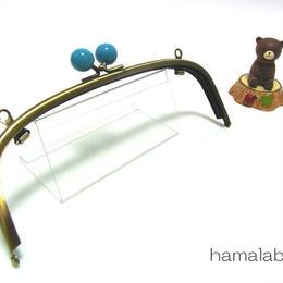 【HA-1270】20.4cm/くし型(ブルー玉×アンティークゴールド)・兼用カン付き