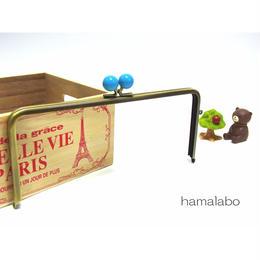 <廃盤予定>【HA-1357】22cm/角型(ブルー玉×アンティークゴールド)