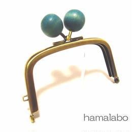 1月25日販売開始!【HA-1457】9.9cm/くし型の口金(ちょっと大きい紺色の木玉×アンティークゴールド)