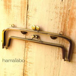 【HA-1350】<親子口金>19cm(スマイル刻印の碁石×アンティークゴールド)・カン付き