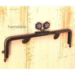 11月30日まで特価!【HA-1507】16.5cm角型の口金(六花-雪の結晶×ブラック)