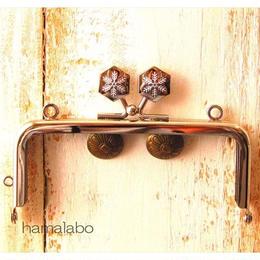 【HA-1479】10cm角型の口金(六花-雪の結晶×シルバー)・カン付き