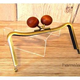 12月22日販売開始!【HA-1449】12cmM字型(ネコ耳型)の口金(ちょっと大きい茶色の木玉×アンティークゴールド)