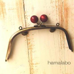 <廃盤予定>【HA-161】18cm/くし型(ちょっと大きなエンジ色の木玉×アンティークゴールド)・カン付き