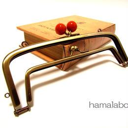 【HA-356】<廉価版>親子口金 19cm(赤玉×アンティークゴールド)・カン付き