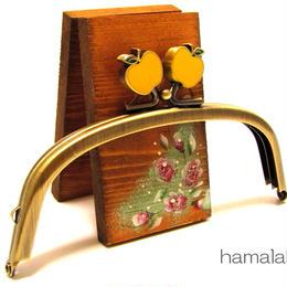 【HA-332】12.5cm/くし型(黄リンゴ×アンティークゴールド)