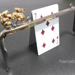 【HA-172】<横ひねり>18cm/角型の口金(ゴールドウサギ×シルバー)・カン付き