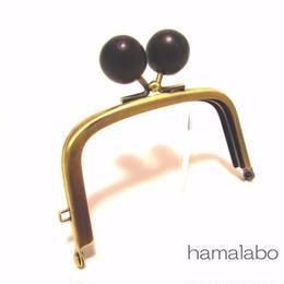 1月11日販売開始!【HA-1458】9.9cm/くし型の口金(ちょっと大きい黒色の木玉×アンティークゴールド)