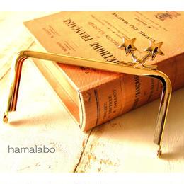 【HA-1422】<横ひねり>12cm/角型の口金(メタルスター×ゴールド)