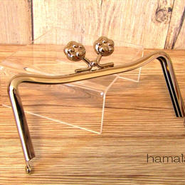 9月7日販売開始!【HA-1447】12cmM字型(ネコ耳型)の口金(肉球×シルバー)