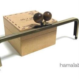 【HA-117】16.5cm木玉/角型(茶色の木玉×アンティークゴールド)