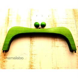 【HA-458】27cmくし型の木製口金(グリーン色の木玉×アンティークゴールド)