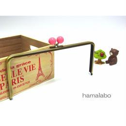 【HA-1356】22cm/角型(ピンク玉×アンティークゴールド)