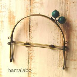 【HA-385】16cmベンリー口金/(ちょっと大きな紺色の木玉×アンティークゴールド)・カン付き