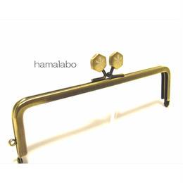 【HA-1481】16.5cm角型の口金(六花-雪の結晶×アンティークゴールド)