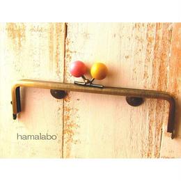10月15日販売開始!【HA-1524】16.5cm木玉/角型(からし色とピンク色のミックス×アンティークゴールド)