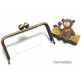 【HA-1398】12cm/角型口金(アンティークゴールド)-碁石つまみ-
