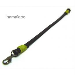 【HA-603】《高級レザー》がま口用の革紐(かわひも)22cm【ブラック金具】
